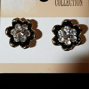Floral Black w Clear Stones Gold Tone